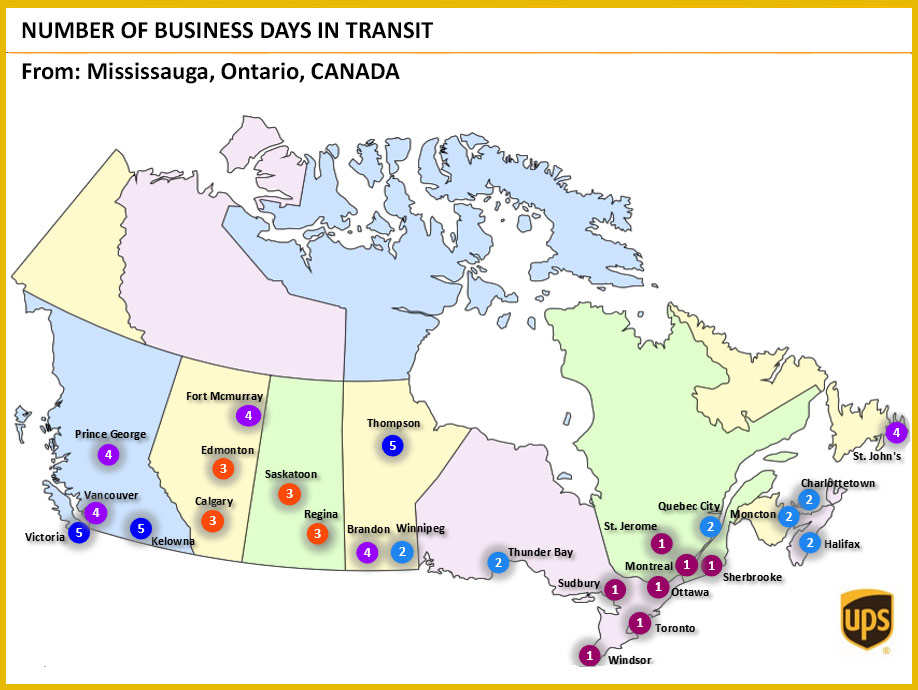 UPS TRansit Times to Canada Map