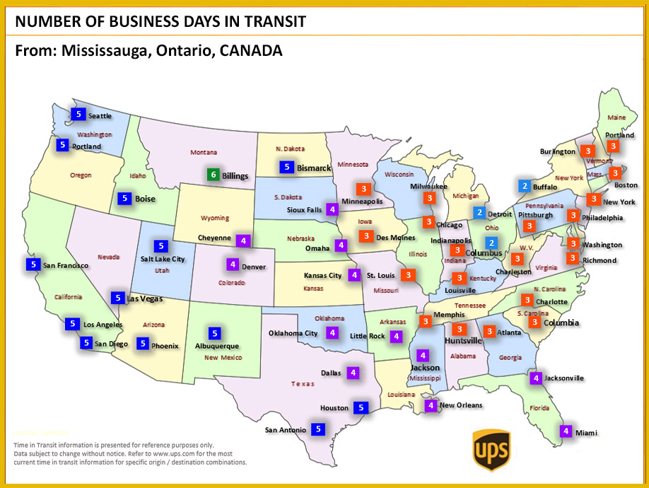 UPS TRansit Times to US Map